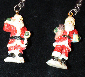 Miniature Resin SANTA CLAUS EARRINGS - Christmas Holiday Old-World Costume Jewelry -D