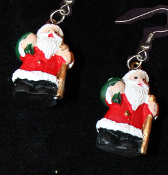 Miniature Resin SANTA CLAUS EARRINGS - Christmas Holiday Old-World Costume Jewelry -G
