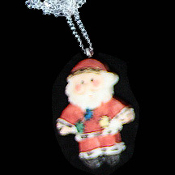 SANTA CLAUS PENDANT NECKLACE-2-Sided Christmas Costume Jewelry