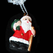 SANTA CLAUS PENDANT NECKLACE-Christmas Holiday Costume Jewelry-G