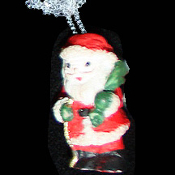 SANTA CLAUS PENDANT NECKLACE-Christmas Holiday Costume Jewelry-I