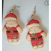 SANTA EARRINGS - Resin Christmas Gift Jewelry - COUNTRY PATCHWORK