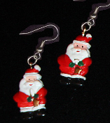 Cute Miniature Resin SANTA CLAUS EARRINGS - Christmas Holiday Charm Costume Jewelry #1