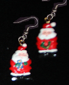 Cute Miniature Resin SANTA CLAUS EARRINGS - Christmas Holiday Charm Costume Jewelry #4