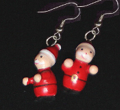 Cute Miniature Wood SANTA CLAUS EARRINGS - Christmas Vintage Charm Jewelry