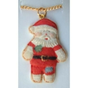 SANTA PENDANT NECKLACE-Country Patchwork Christmas Funky Jewelry