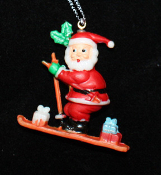 SANTA PENDANT NECKLACE-Skier Holiday Charm Funky Novelty Jewelry