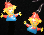 Big Cute SCARECROW EARRINGS - Halloween Thanksgiving Colorful Holiday Jewelry