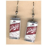 Funky Mini SCHLITZ BEER CANS EARRINGS - Waitress Bartender Punk Food Sports Bar Drink Charm Costume Jewelry - Miniature Metallic Paper-covered, Plastic Dimensional BEER CAN charms.