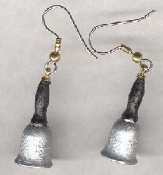 Tiny SCHOOL BELL EARRINGS - Mini Teacher Classroom Jewelry - Wood Painted 3-D SCHOOL BELLS.