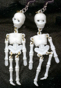 Funky Gothic Vintage WHITE SKELETON JOINTED EARRINGS - Punk Pirate Anatomy Charm Costume Jewelry