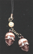 Realistic Rhinestone SKULL CELLPHONE STRAP - Headhunter Witch Doctor Halloween Pirate Charm Jewelry