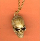 SKULL PENDANT NECKLACE AMULET-Realistic Gothic Costume Jewelry