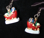 Mini Red SLEIGH EARRINGS - Santa Presents Holiday Christmas Charm Jewelry -B