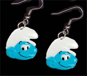 Huge SMURF FACE EARRINGS - TV Movie Character Jewelry