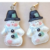 SNOWMAN EARRINGS - Resin Christmas Jewelry COUNTRY PATCHWORK QUILT
