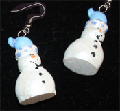 Dimensional SNOWMAN EARRINGS -A- Pearlescent Christmas Charm Jewelry