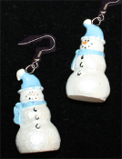 Dimensional SNOWMAN EARRINGS -C- Pearlescent Christmas Charm Jewelry