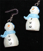 Dimensional SNOWMAN EARRINGS -D- Pearlescent Christmas Charm Jewelry