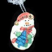 SNOWMAN PENDANT NECKLACE-2-Sided Winter Holiday Novelty Jewelry