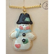 SNOWMAN PENDANT NECKLACE-Country Patchwork Quilt Holiday Jewelry