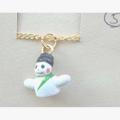 SNOWMAN PENDANT NOVELTY NECKLACE-Tiny Winter Charm Funky Jewelry