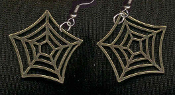SPIDER WEB PEWTER EARRINGS - Halloween Gothic Wicca Punk Witch Jewelry - Antiqued GOLD