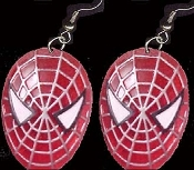 SPIDER-MAN JEWEL-tone FACE MASK DANGLE EARRINGS - Collectible Spiderman Movie Super-Hero Jewelry - BIG Dimensional Charm
