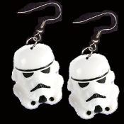 HUGE Funky Star Wars STORM TROOPER EARRINGS - Cosplay Sci-Fi Darth Vader Costume Jewelry