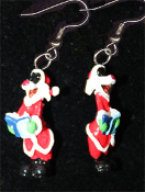 Funky Mini Singing Choir SYLVESTER CAT SANTA CAP EARRINGS - Looney Tunes Christmas Carol Book Holiday Novelty Costume Jewelry - Xmas Tweety Bird friend cartoon comics character dangle charm