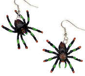Mini Assorted Painted SPIDER TARANTULA EARRINGS - Halloween Gothic Punk Jewelry - Great Halloween Costume accessory for VooDoo Priestess, Witch Doctor, Head Hunter, Witch, Wizard or Zombie!
