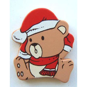 Cute TEDDY BEAR SANTA HAT BUTTON PIN BROOCH - Big Painted Wood Christmas Holiday Jewelry