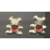 TEDDY HEART Rhinestone Post EARRINGS - Best Friend Jewelry - Puffy GOLD fabric with Red Acrylic Rhinestone Heart