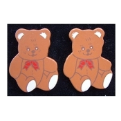 TEDDY BEAR with Red Bow BUTTON EARRINGS - Country style Wood Jewelry