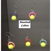 1-Pair TENNIS BALLS BEAD EARRINGS - Player Team Coach Jewelry - Assorted Colors