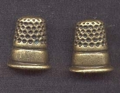 THIMBLE BUTTON EARRINGS - Sewing Seamstress Tailor Crafts Novelty Charm Jewelry