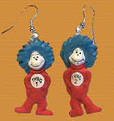 Mini Figure Cat in the Hat Twins THING 1 - THING 2 FUNKY EARRINGS Set. Dr Seuss Movie Book Character Novelty Costume Jewelry. Cute detailed hand painted dimensional resin miniature kitsch charms ornament. Whimsical mischievous duo