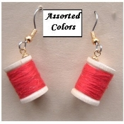 Wood THREAD SPOOL EARRINGS - Sewing Machine Jewelry -Choose Color!