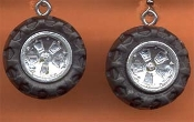TIRE EARRINGS - Small Toy Wheels - NASCAR Fan - Car Auto Mechanic Novelty Charm Jewelry -