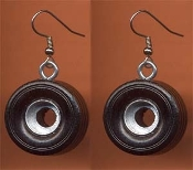 Huge Funky TIRE EARRINGS - NASCAR Auto Racing Fan Car Driver Mechanic Novelty Wheels Charm Costume Jewelry - Big Black and Silver Hand Painted Wood Toy Tires. Model toy hobby building automobile driving shop repair race stock track rally theme.