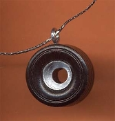 Funky Wood Wheel TIRE PENDANT NECKLACE - NASCAR Fan Auto Racing Car Mechanic Novelty Charm Costume Jewelry - Hand painted Black and Silver Wood Charm. Model hobby building automobile shop repair race stock track theme.