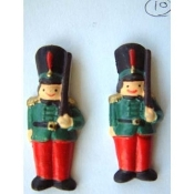 Big TOY SOLDIERS BUTTON EARRINGS - Nutcracker Christmas Gift Jewelry - Dimensional Resin