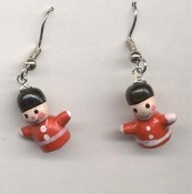 TOY SOLDIERS EARRINGS - Nutcracker Christmas Gift Jewelry - Tiny 3-d Painted wood charms