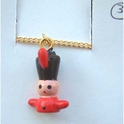 TOY SOLDIER PENDANT NECKLACE-Holiday Wood Nutcracker Jewelry-SM