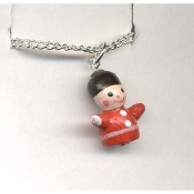 TOY SOLDIER PENDANT NECKLACE-Holiday Wood Nutcracker Jewelry-TNY