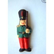 Big TOY SOLDIER BUTTON PIN BROOCH - Nutcracker Christmas Gift Jewelry - Dimensional Resin