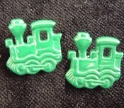 TRAIN ENGINE BUTTON EARRINGS - Model Railroad Engineer Jewelry - GREEN