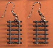 TRAIN TRACKS EARRINGS - Mini N Scale Model Railroad Engineer Novelty Charm Jewelry