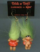Mini collectible TROLL DOLL SUPER-HERO BANDIT ROBBER EARRINGS with MASK and CAPE - Punk funky retro Russ Berrie little TRICK-or-TROLL retired novelty costume jewelry - GREEN Hair - Miniature gothic vintage Halloween lucky charm gnome trolls.
