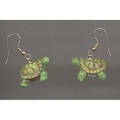 Big Funky TURTLE TORTOISE EARRINGS - TMNT Turtles Costume Jewelry - Realistic Mini 3-d Resin amphibian pet charm. Miniature Dimensional Aquatic Collectible Figurine, approx. 1/2-inch (1.25cm) tall x 1-inch (2.5cm) long.